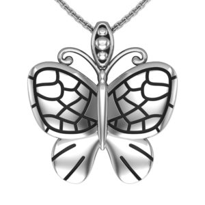 Solid Sterling Silver Butterfly Charm Pendant Necklace