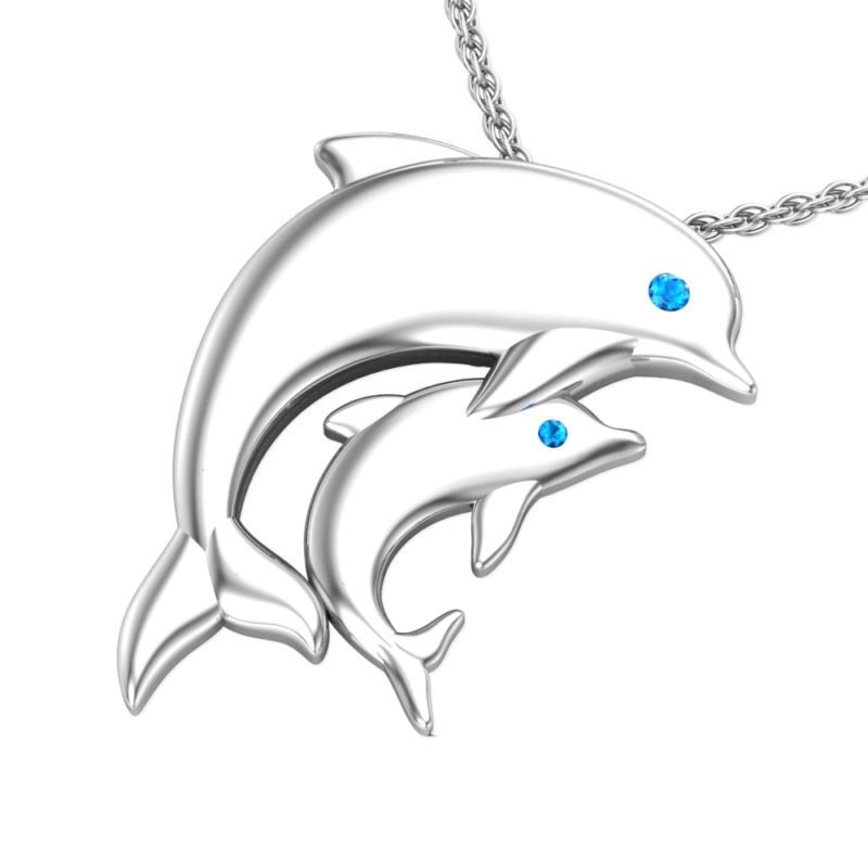 Solid Sterling Silver Double Dolphin Cute Pendant Necklace on Anchor Chain