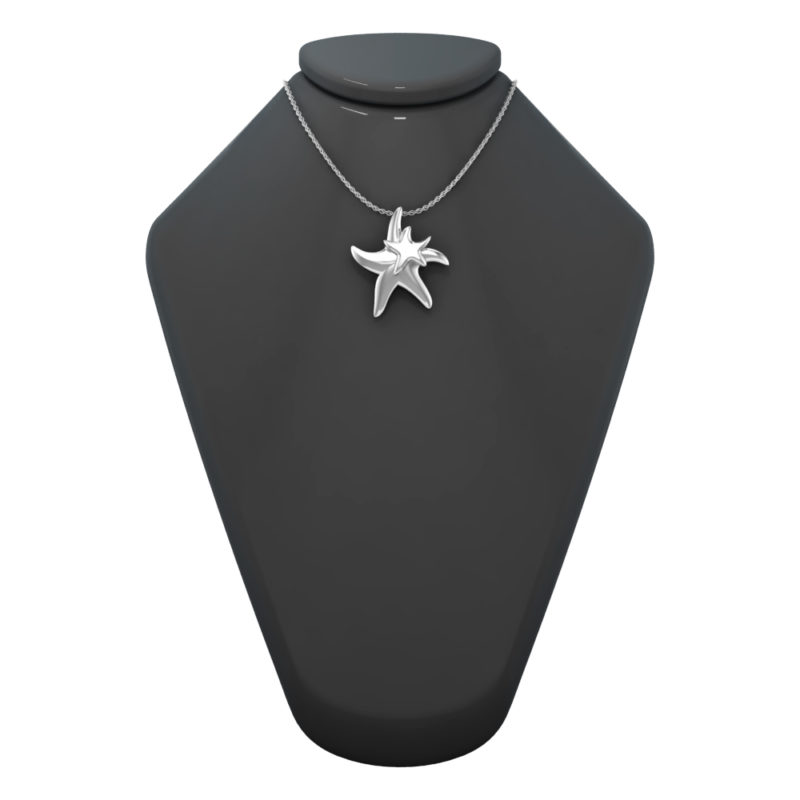 Sterling Silver Sea Life Starfish Charm Pendant Necklace