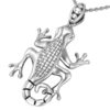 Solid Sterling Silver Chameleon Charm Pendant Necklace