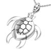 Solid Sterling Silver Sea Turtle Charm Pendant Necklace