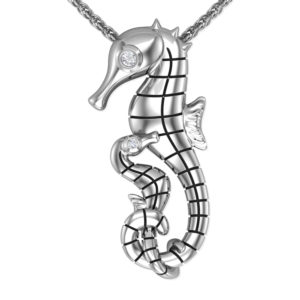 Solid Sterling Silver Seahorse Gemstone Pendant Necklace