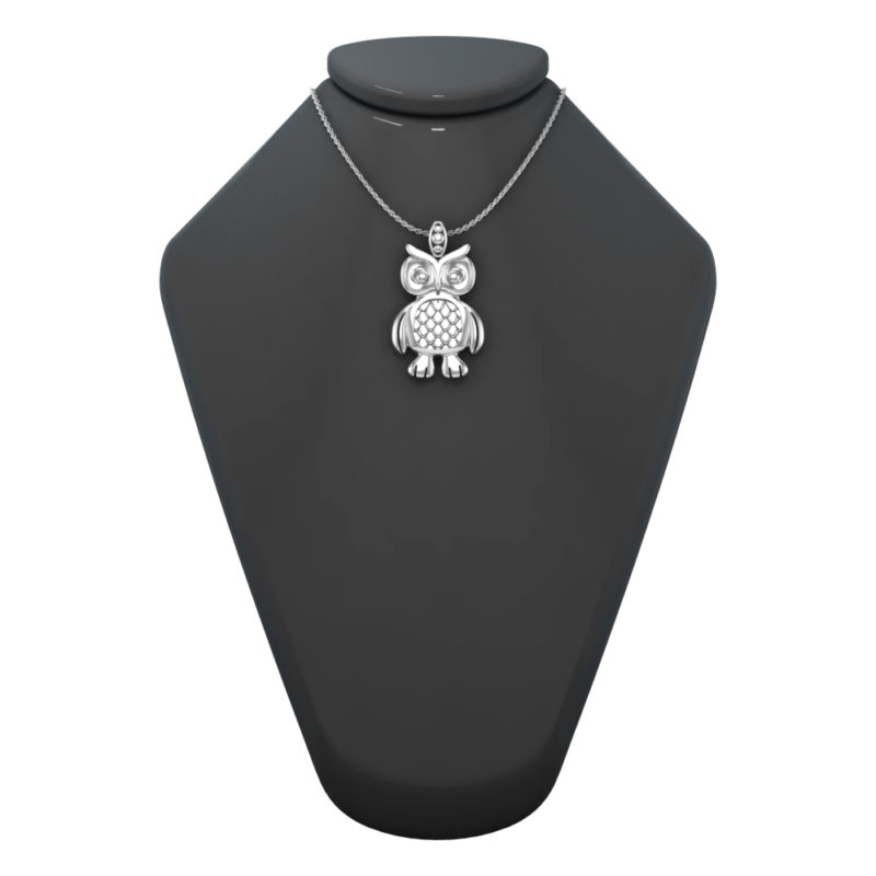 Solid Sterling Silver Wise Owl Charm Pendant Necklace