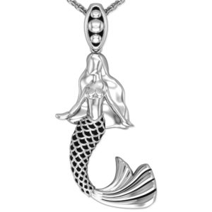Solid Sterling Silver Mystical Mermaid Pendant Necklace