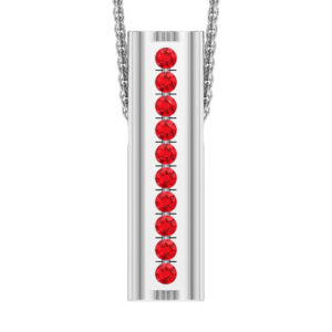 Solid Sterling Silver Bar Pendant with Heart Shape Ends and Encrusted Ruby Gemstones on 18 inch Rope Chain