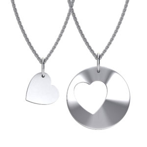 Solid Sterling Silver Cut Out Heart Pendant in Rhodium Plating