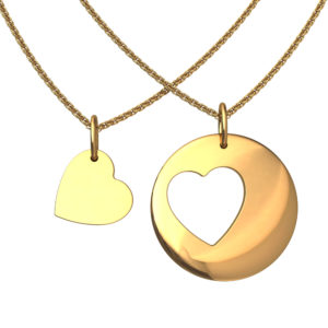 Solid Sterling Silver Cut Out Heart Pendant in Yellow Gold Plating