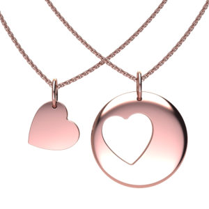 Solid Sterling Silver Cut Out Heart Pendant in Rose Gold Plating
