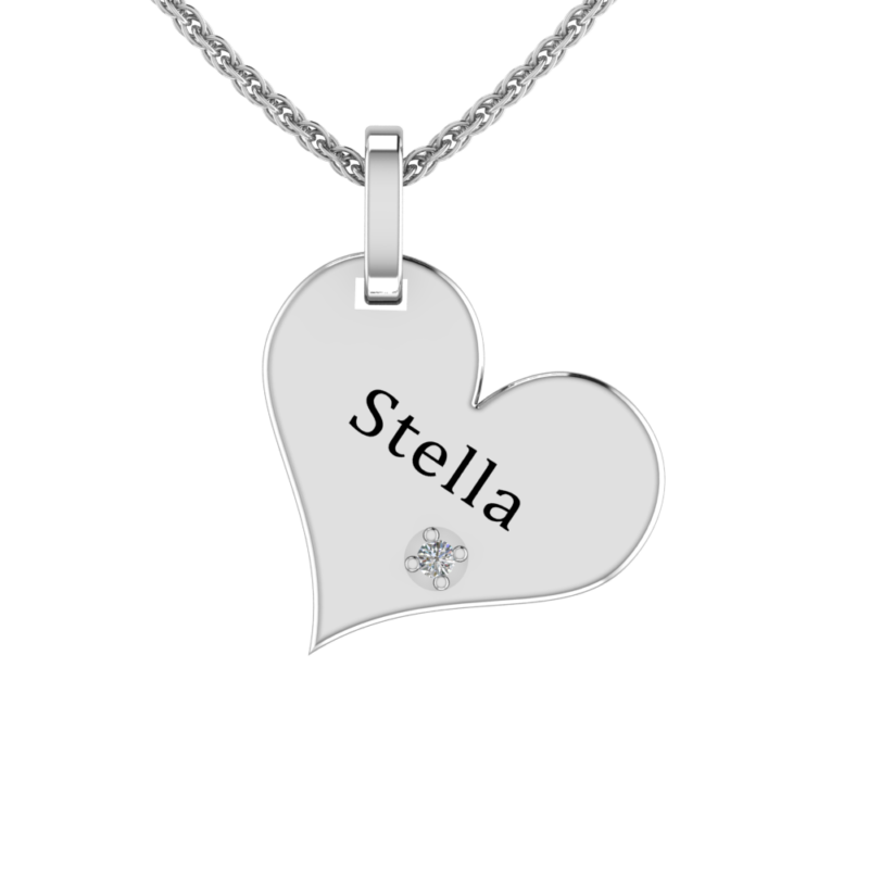 Solid Sterling Silver Engraved Heart Shaped Necklace with White CZ