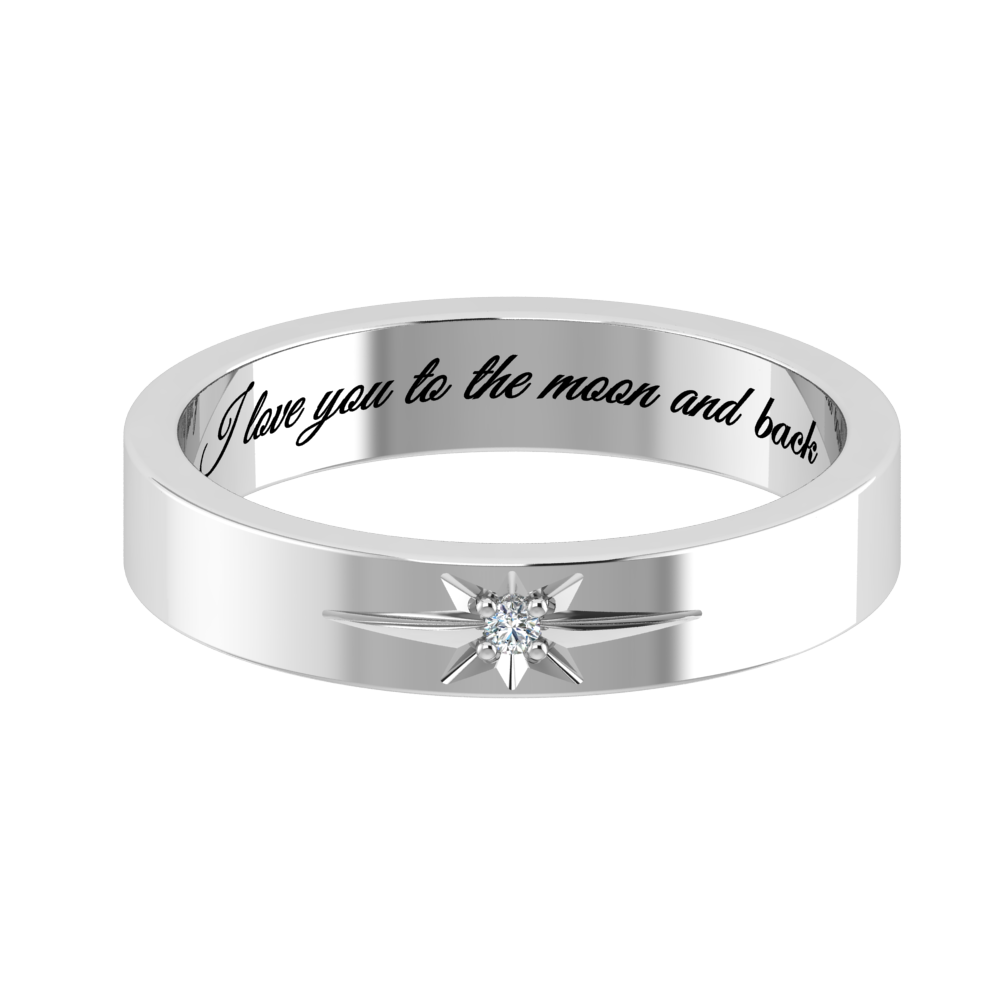 925 Sterling Silver I Love You To the Moon and Back Ring Engraved Gift NEW
