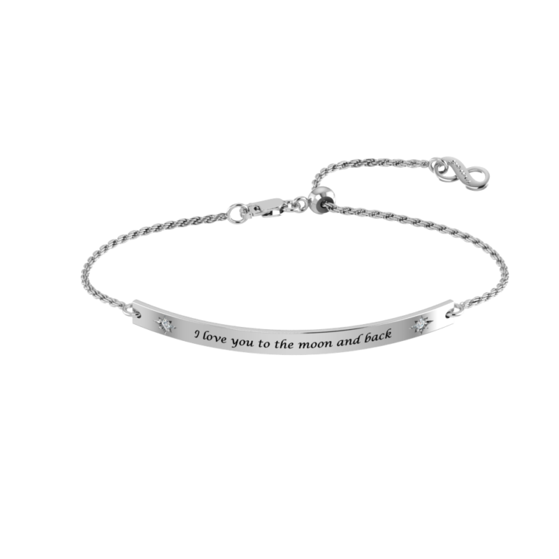 Solid Sterling Silver Engraved Bracelet with White CZ