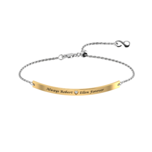 This gorgeous engraved bracelet has been masterfully crafted out of .925 sterling silver and features two sparkling white CZ stones on each end of the bracelet.
