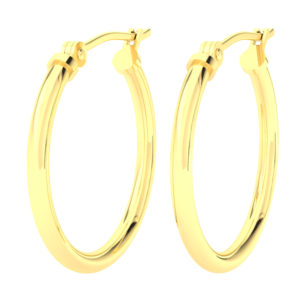 Solid 14k Yellow Gold Plain Lightweight Hoop Earrings in 20mm