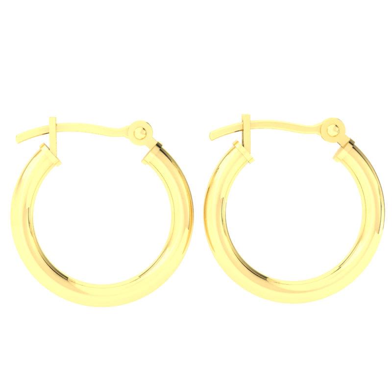 Solid 14k Yellow Gold Plain Lightweight Hoop Earrings in 16mm
