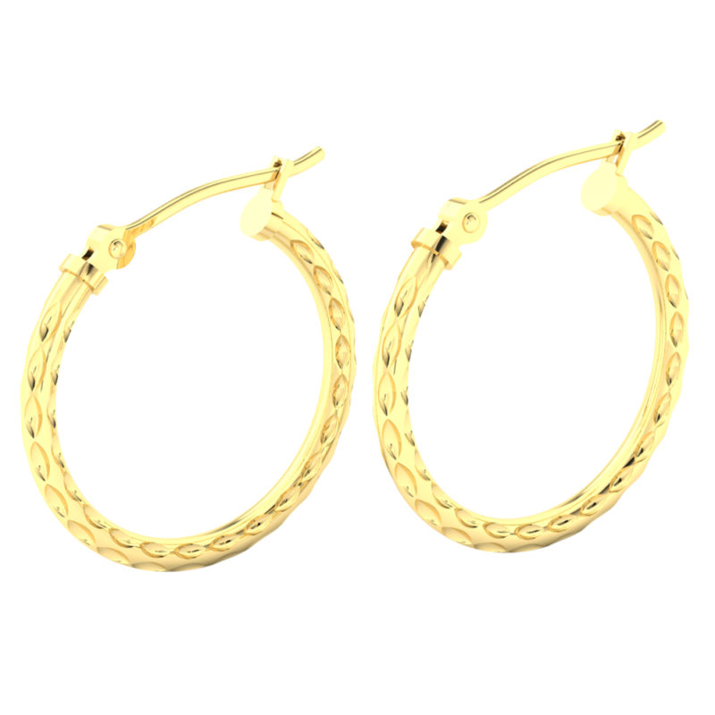 Solid 14k Yellow Gold Textured Lightweight Hoop Earrings in 20mm