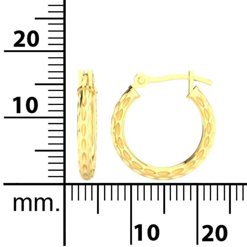 Solid 14k Yellow Gold Textured Lightweight Hoop Earrings in 16mm