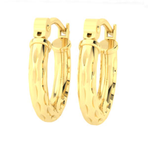 Solid 14k Yellow Gold Textured Lightweight Hoop Earrings in 12mm