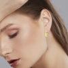 Solid 14k Yellow Gold Textured Lightweight Hoop Earrings in 12mm