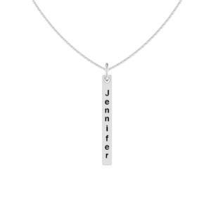 Solid Sterling Silver Engraved Flat Bar Necklace with 18 inch Rope Chain