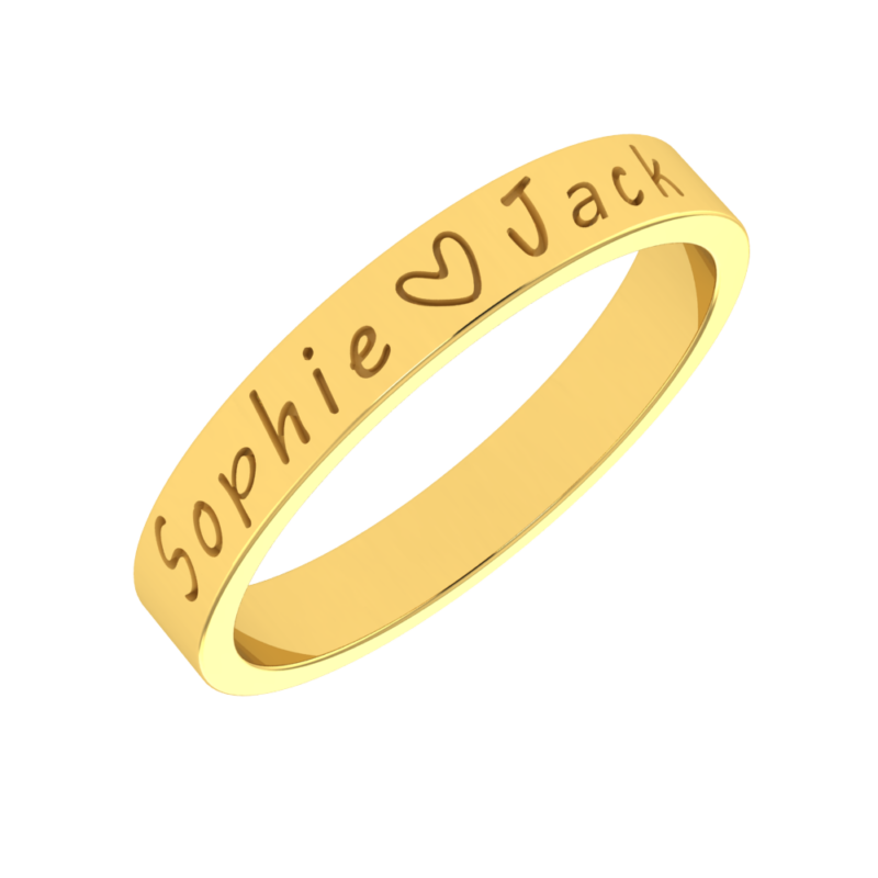 Solid Sterling Silver Gold Plated Personalized Engraved Ring