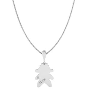 Solid Sterling Silver Engraved Silhouette Figure Necklace with White CZ