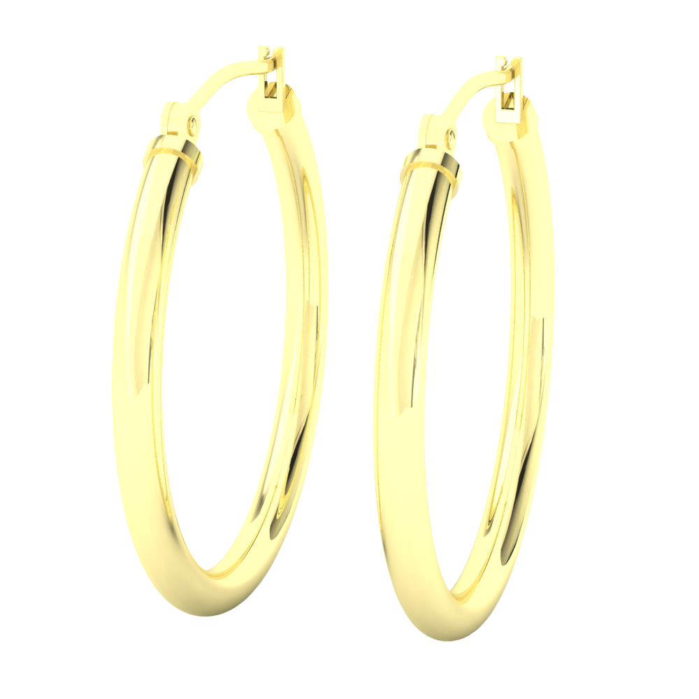14k Yellow Gold Filled Lightweight Endless Hoop Earrings In 27mm 2 25mm Gauge