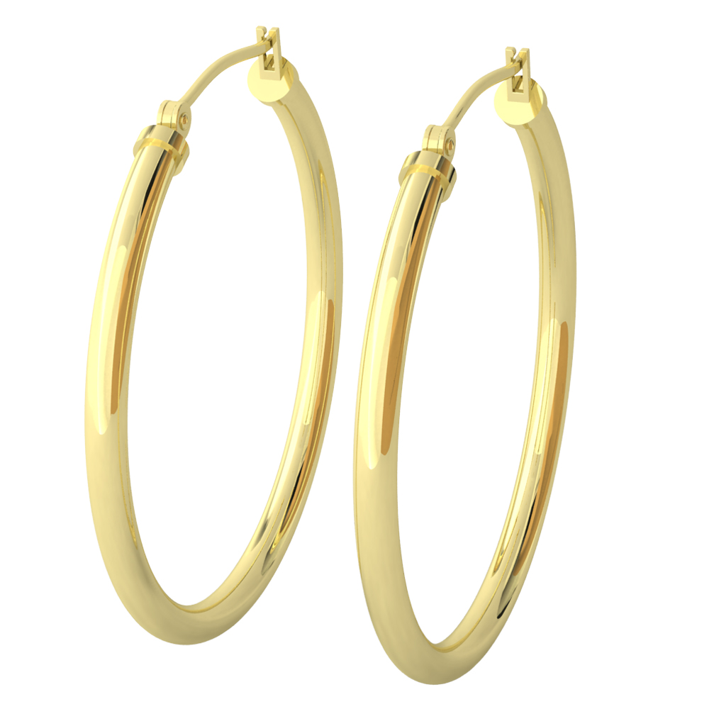 14k Yellow Gold Filled Lightweight Endless Hoop Earrings In 34mm 2 25mm Gauge