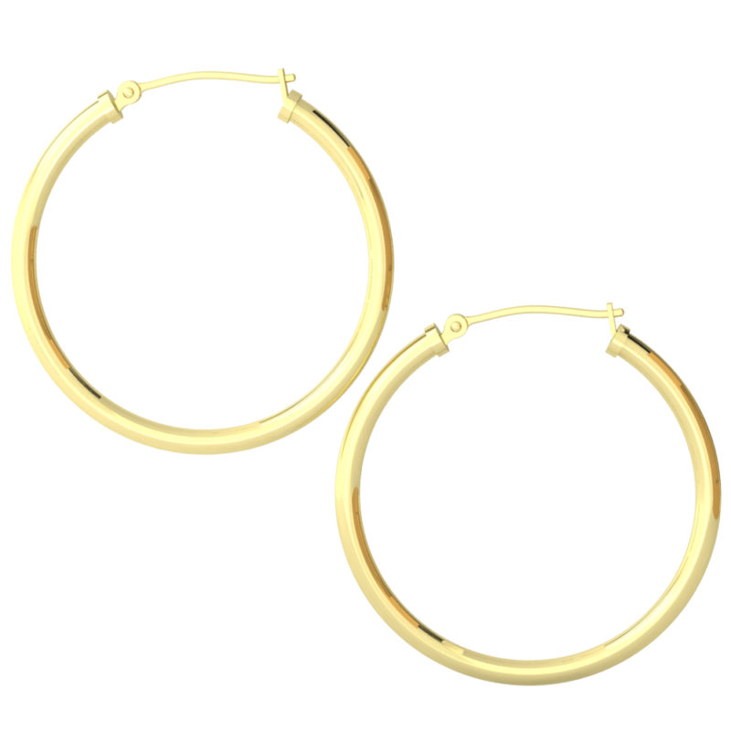 14k Yellow Gold Filled Lightweight Endless Hoop Earrings in 34mm
