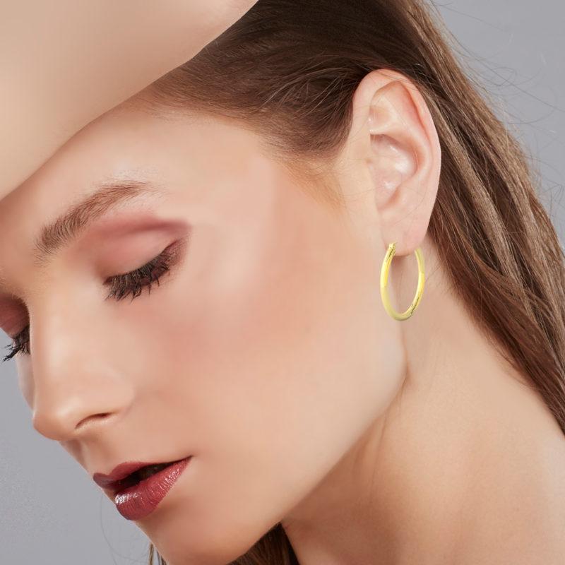 14k Yellow Gold Filled Lightweight Endless Hoop Earrings in 34mm