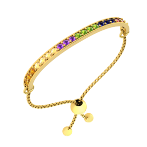 2 Carat Solid Gold Plated Sterling Silver Multi-Gemstone Pride Adjustable Bolo Bracelet with Natural Stones