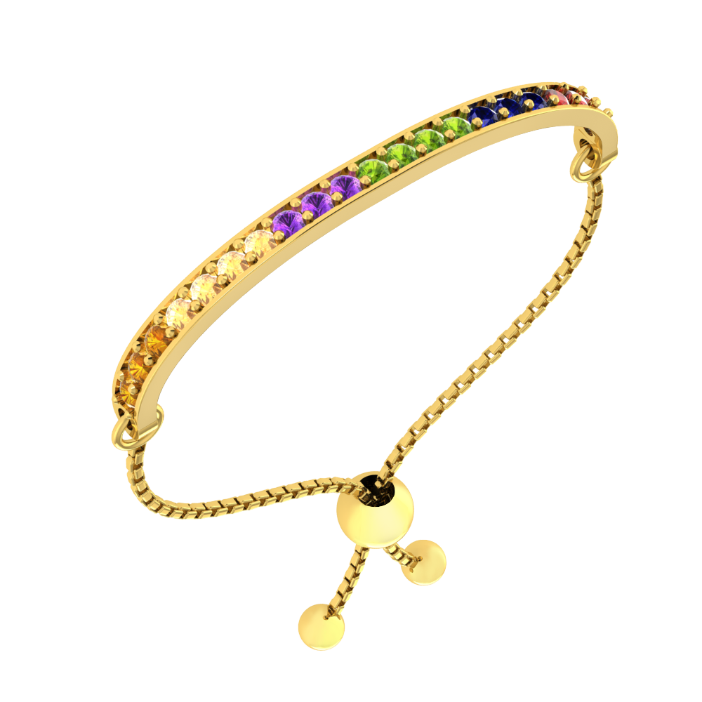 Gold Tone over Sterling Silver 4mm Bead Adjustable Bracelet Fine Bracelets