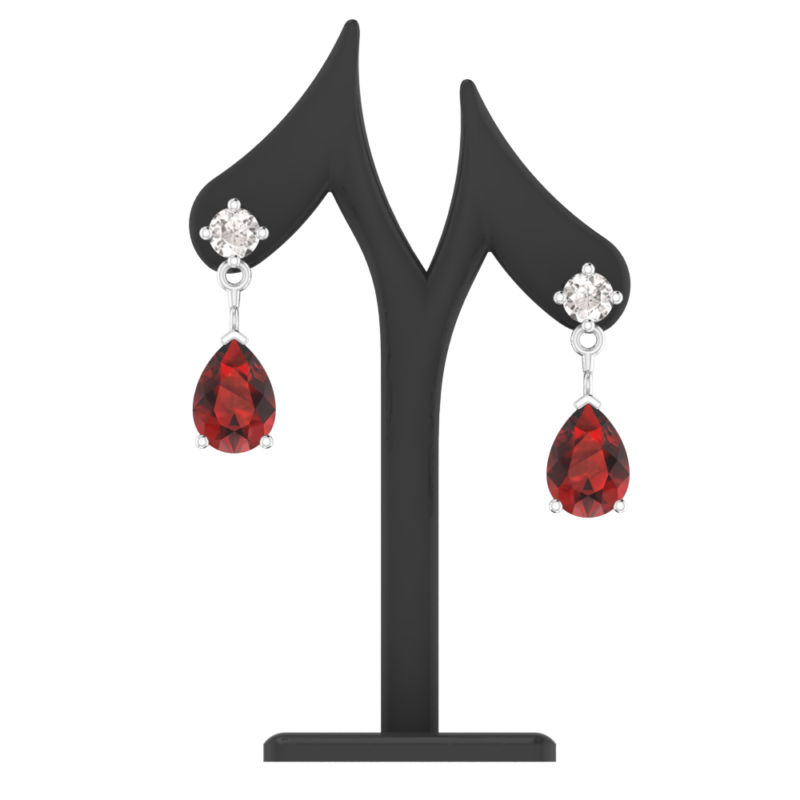 Sterling Silver Jewelry Set for Women with Garnet and Natural White Topaz Pendant Necklace and Matching Stud Earrings