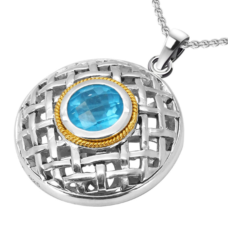 Solid Sterling Silver Balinese Swiss Blue Topaz Round Pendant with 14k Gold Wire on 18 inch Rope Chain