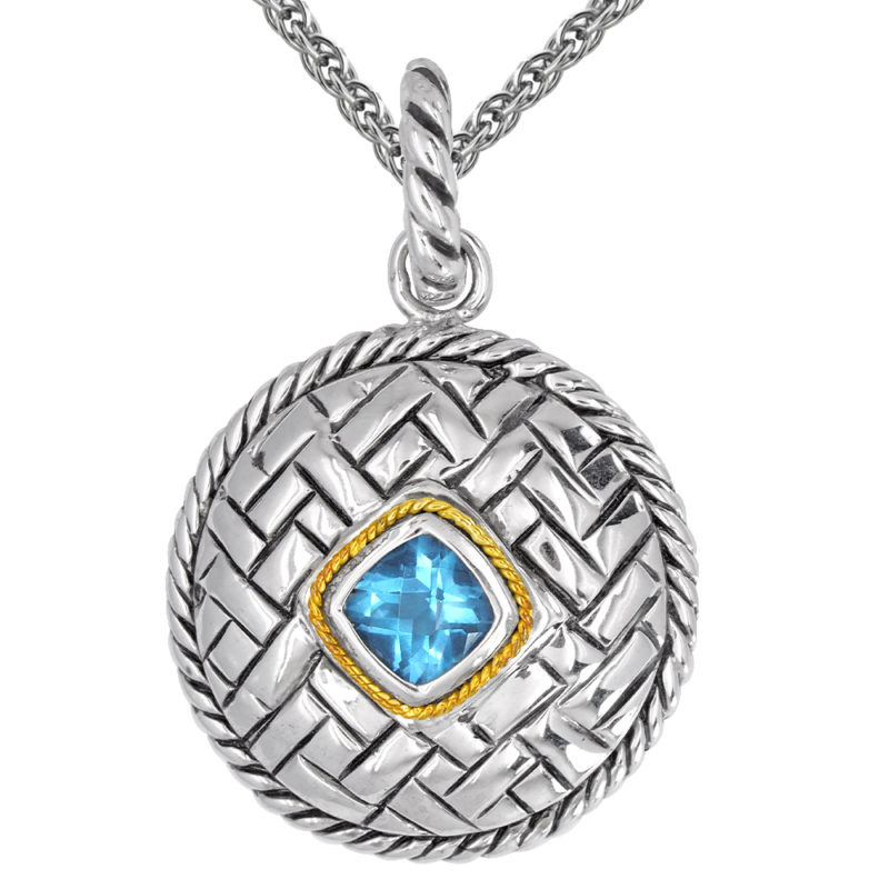Solid Sterling Silver Balinese Swiss Blue Topaz Round Patterned Pendant with 14k Gold Wire on 18 inch Rope Chain