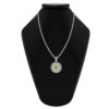 Solid Sterling Silver Balinese Peridot Round Patterned Pendant with 14k Gold Wire on 18 inch Rope Chain