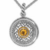 Solid Sterling Silver Balinese Citrine Round Patterned Pendant with 14k Gold Wire on 18 inch Rope Chain