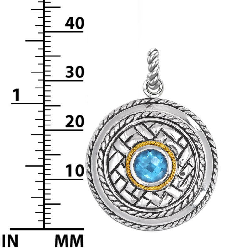 Sterling Silver Balinese Swiss Blue Topaz Patterned Pendant with 14k Gold Wire on 18 inch Rope Chain