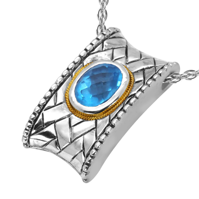 Solid Sterling Silver Balinese Rectangular Swiss Blue Topaz Pendant with 14k Gold Wire on 18 Inch Rope Chain