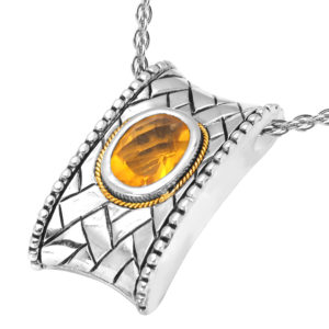 Solid Sterling Silver Balinese Rectangular Citrine Pendant with 14k Gold Wire on 18 Inch Rope Chain