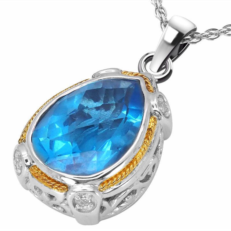 Solid Sterling Silver Balinese Pear Shaped Swiss Blue Topaz Pendant with 14k Gold Wire on 18 Inch Rope Chain
