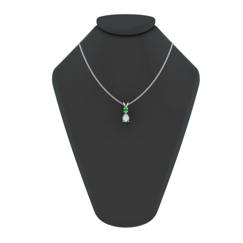 Sterling Silver Jewelry Set for Women with Opal and Created Emerald Pendant Necklace and Matching Stud Earrings