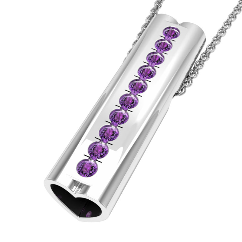 Solid Sterling Silver Bar Pendant with Heart Shape Ends and Encrusted Amethyst Gemstones on 18 inch Rope Chain