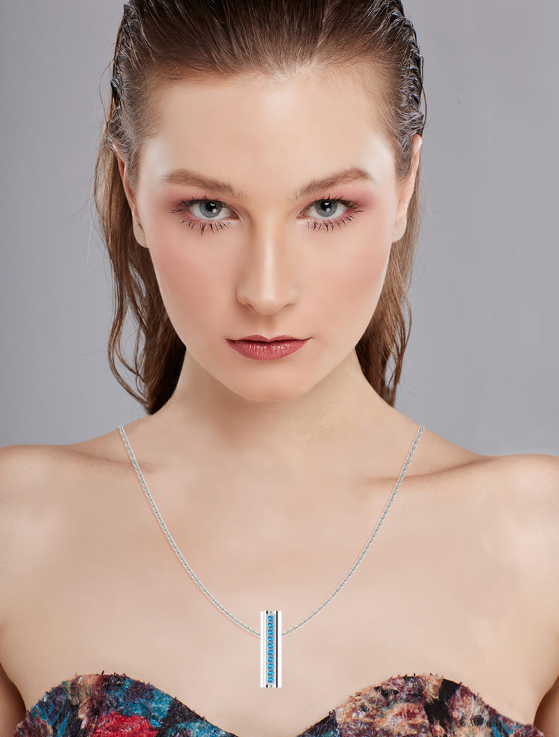 Solid Sterling Silver Bar Pendant with Heart Shape Ends and Encrusted Swiss Blue Topaz Gemstones on 18 inch Rope Chain