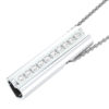 Solid Sterling Silver Bar Pendant with Heart Shape Ends and Encrusted White Topaz Gemstones on 18 inch Rope Chain