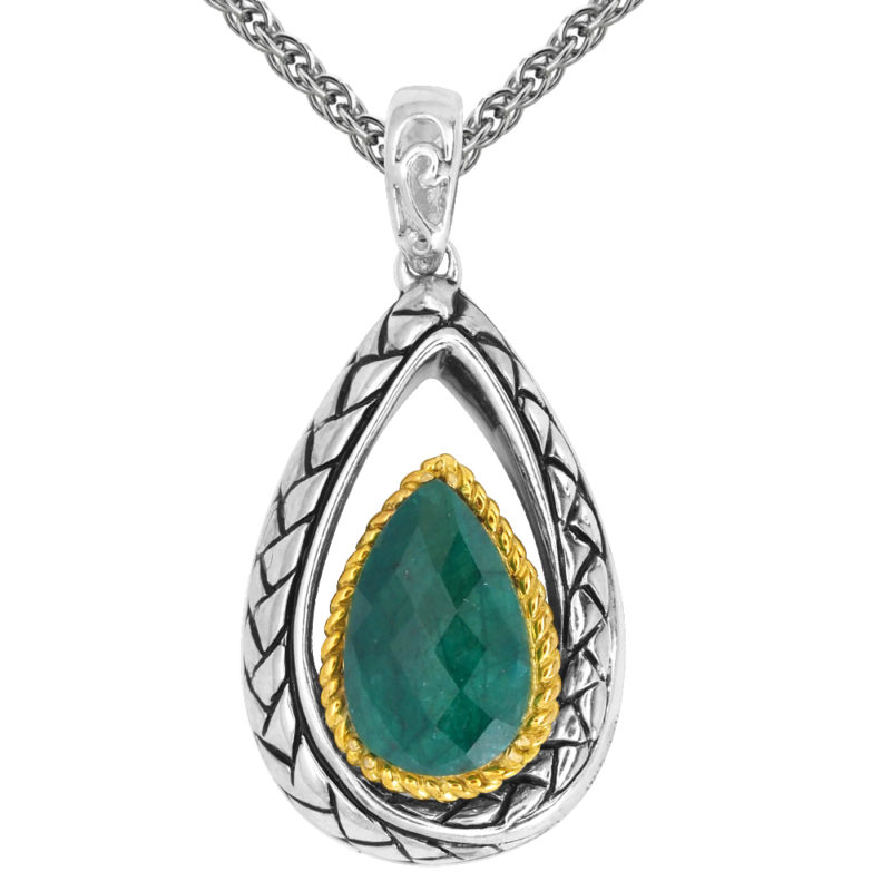 Solid Sterling Silver Balinese Tear Drop Green Corundum Pendant with 14k Gold Wire