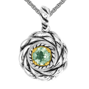 Solid Sterling Silver Balinese Round Peridot Pendant with 14k Gold Wire