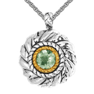 Solid Sterling Silver Balinese Round Patterned Peridot Pendant with 14k Gold Wire