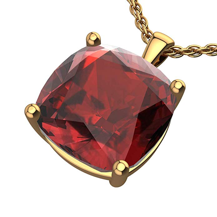 "14K Yellow Gold Cushion Cut 18"" Singapore Necklace in 10mm Garnet"
