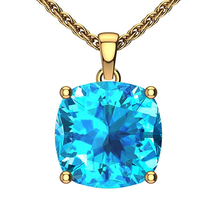 "14K Yellow Gold Cushion Cut 18"" Singapore Necklace in 10mm Swiss Blue Topaz"