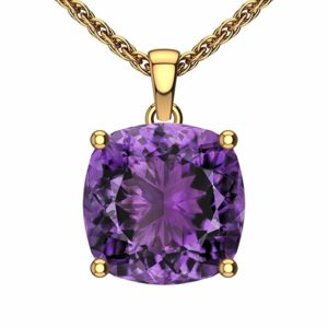 This necklace features 14K yellow gold complimented with a square shaped amethyst centerpiece. There is also a 14K yellow gold singapore chain giving it a classy and unique look. It's durable yet fashionable exterior add an amazing touch to any outfit. This necklace is optimal for when an accessory is needed for special occasions and it makes a great gift for your spouse.